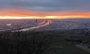 Blick auf Wien vom Kahlenberg am Sonntagmorgen